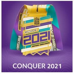 Conquer 2021 Virtual Race Review Medal