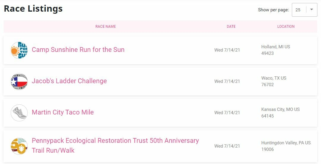 Run Sign Up Listings